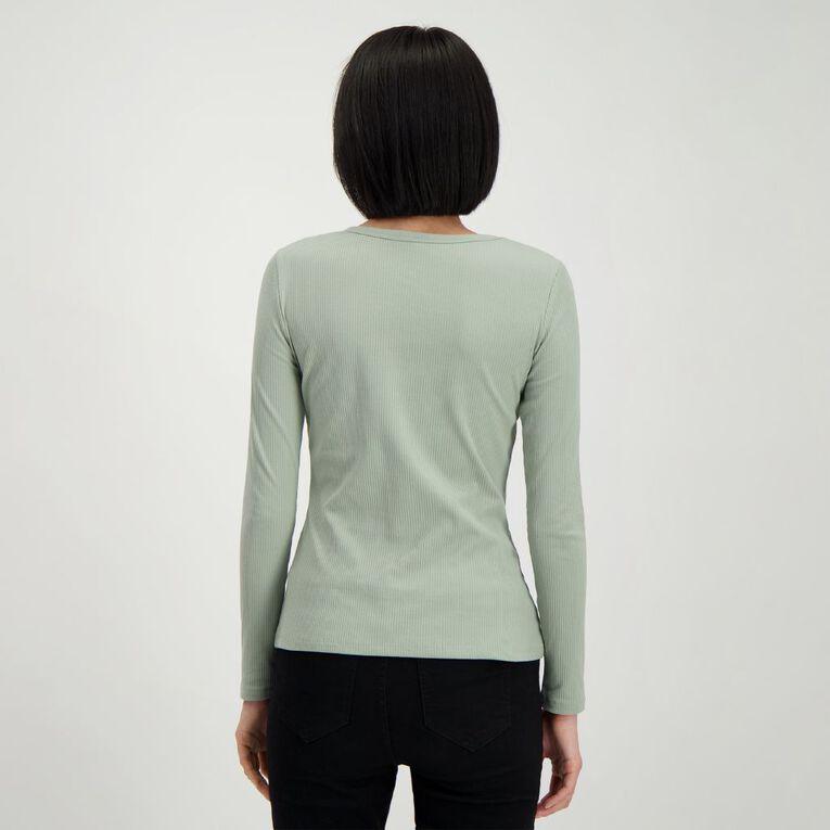 H&H Women's Rib Henley Top, Green Light, hi-res