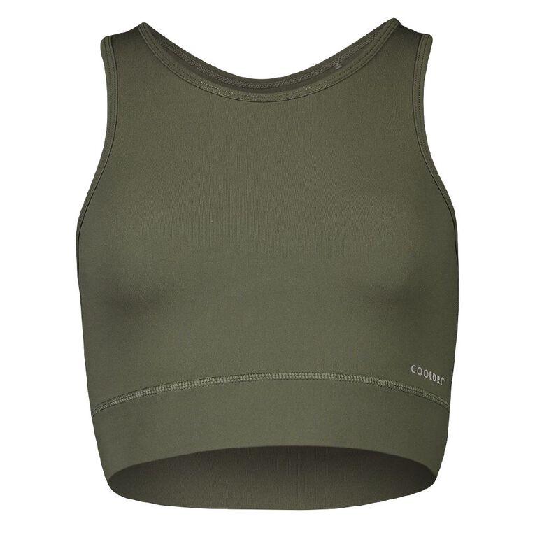 Active Intent Women's Longline Crop Top, Green Dark, hi-res