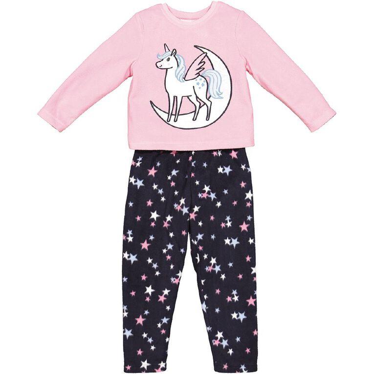 H&H Girls' Fleece Pyjamas, Pink Light, hi-res