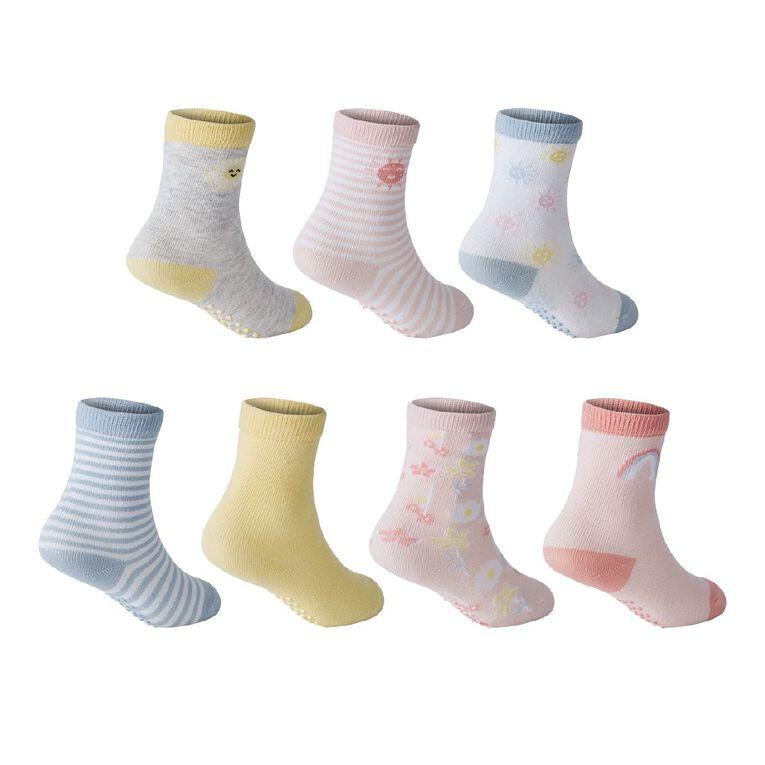 H&H Infant Girls' Crew Socks 7 Pack, Yellow Mid, hi-res