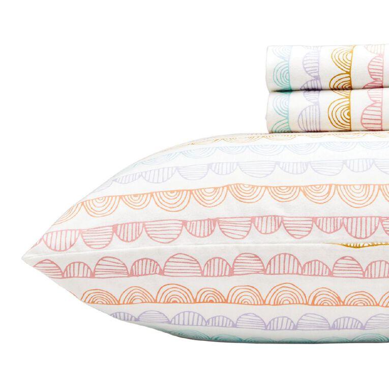Living & Co Kids Sheet Set Cotton Flannel Scallop Pink Single, Pink, hi-res