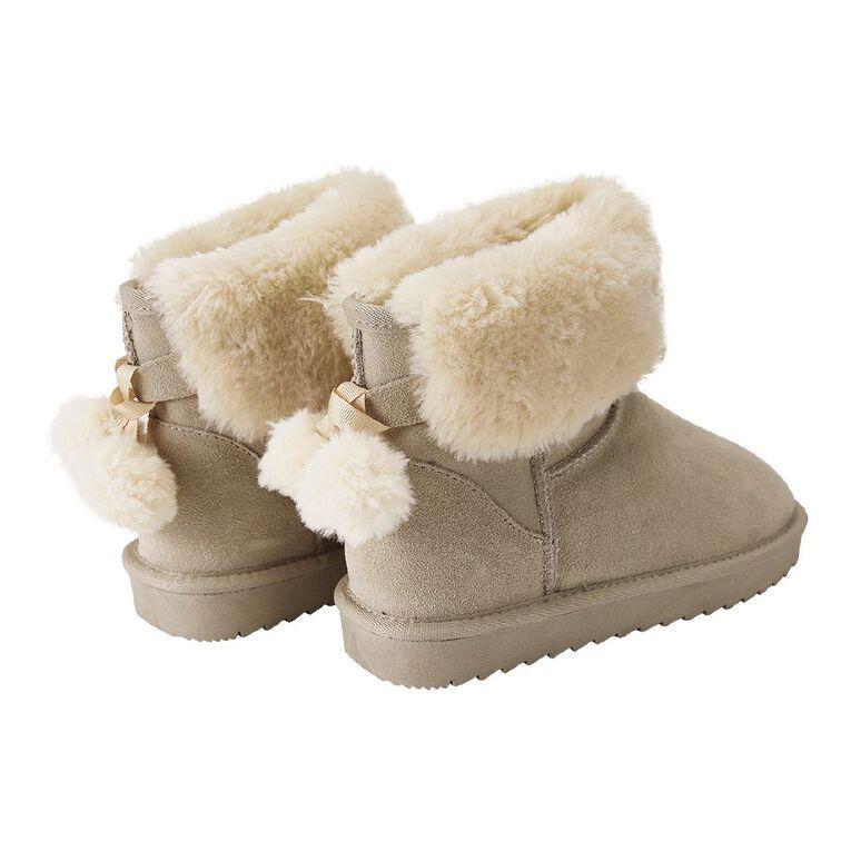H&H Suede Pom Pom Slipper Boots, Sand, hi-res
