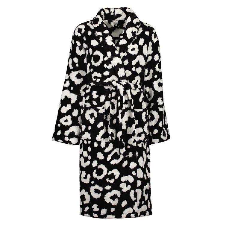 H&H Women's Coral Fleece Robe, Black, hi-res