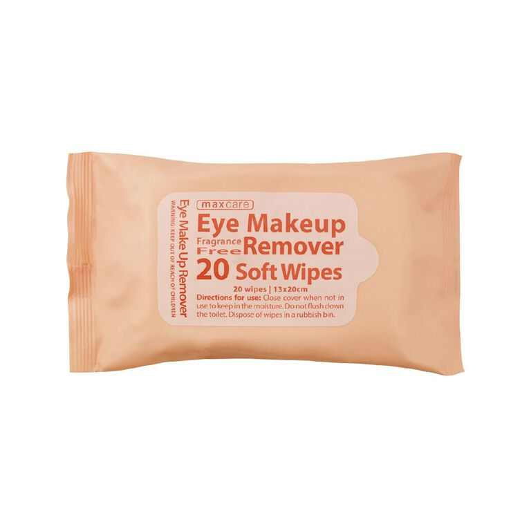 Maxcare Eye Makeup Remover Wipes Fragrance Free 20 Pack, , hi-res