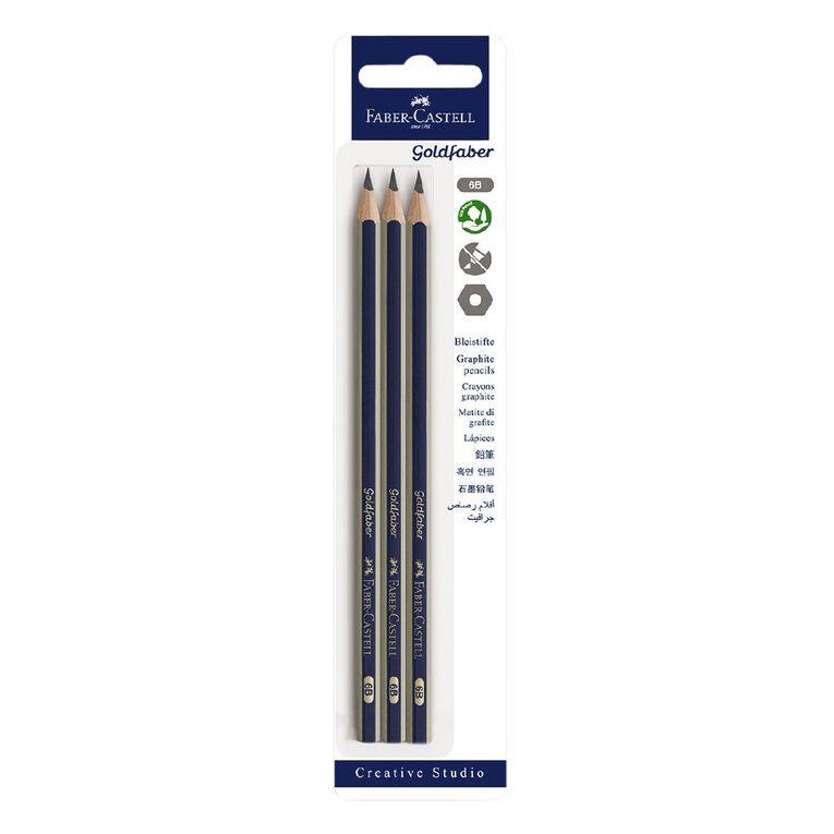 Faber-Castell Goldfaber 6B Pencils 3 Pack, , hi-res