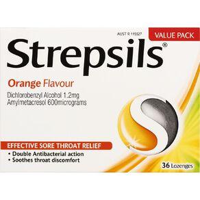 Strepsils Orange Lozenges 36 Pack