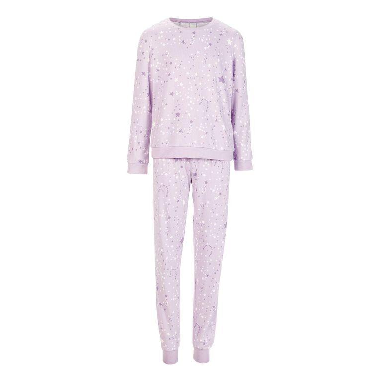 H&H Girls' Long Sleeves Pyjamas, Lilac, hi-res
