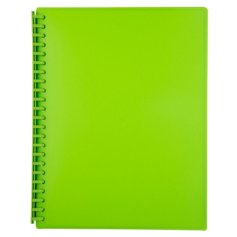 WS Clear Book Refillable 20 Leaf Green A4, , hi-res