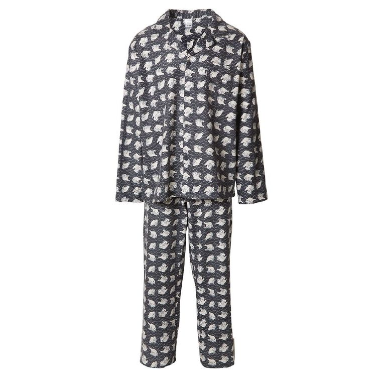 H&H Men's Flannelette Pyjama Set, Grey, hi-res
