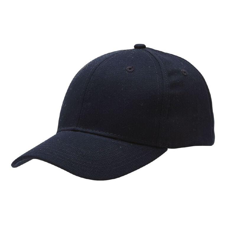 H&H Men's Twill Curved Peak Cap, Navy, hi-res