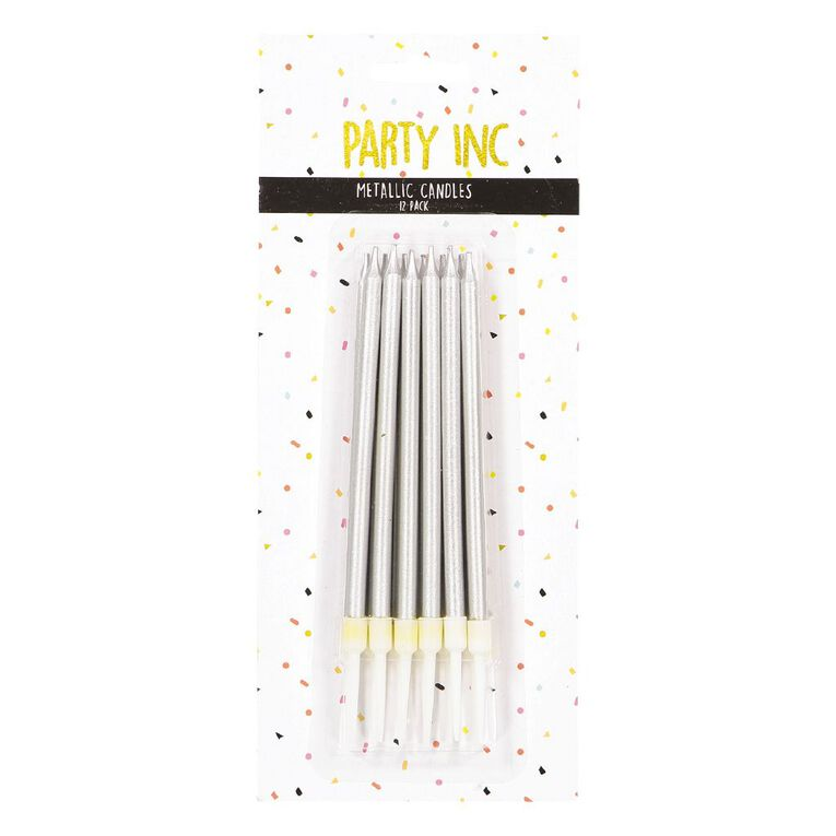 Party Inc Birthday Candles Metallic Slim Assorted 12 Pack, , hi-res