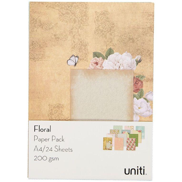 Uniti Designer Paper Pack A4 24 Sheet Floral, , hi-res
