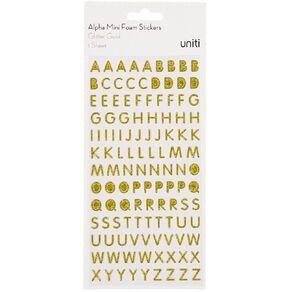 Uniti Alphabet Foam Stickers Mini Glitter Gold