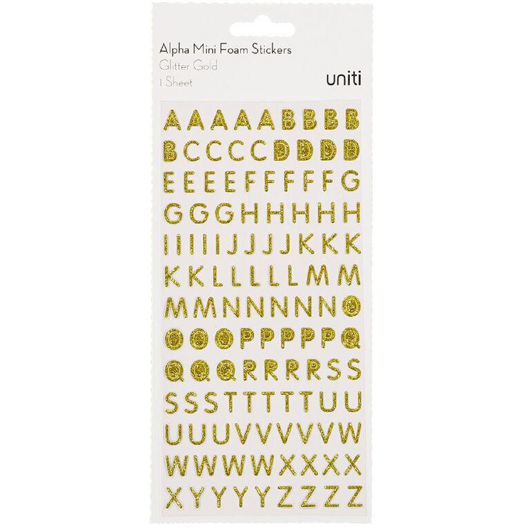Uniti Alphabet Foam Stickers Mini Glitter Gold, , hi-res