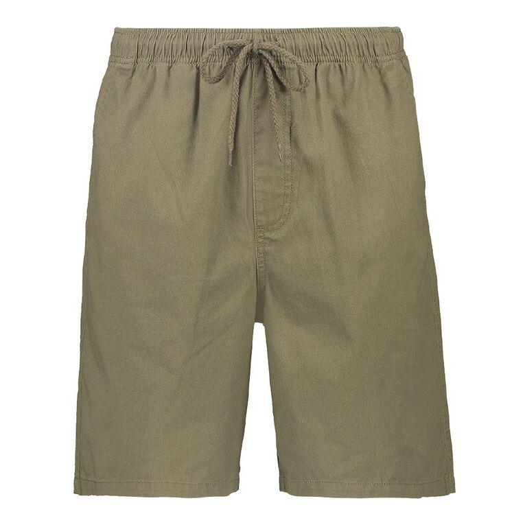 H&H Men's Elastic Waist Plain Drill Shorts, Khaki, hi-res