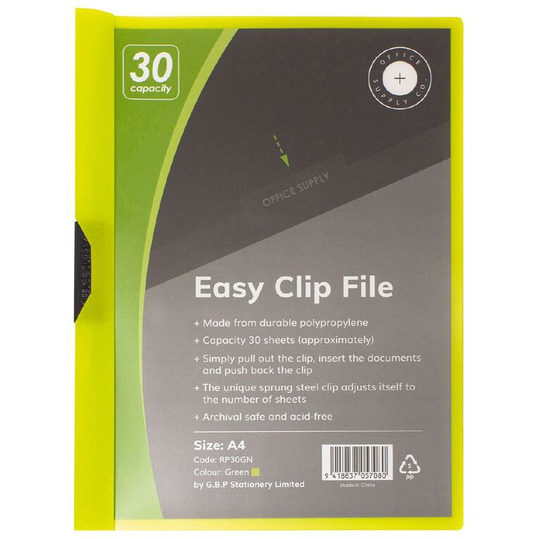 Office Supply Co Easy Clip File 30 Capacity Green A4, , hi-res