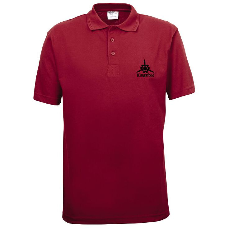 Schooltex Kingsford Short Sleeve Polo with Embroidery, Red, hi-res