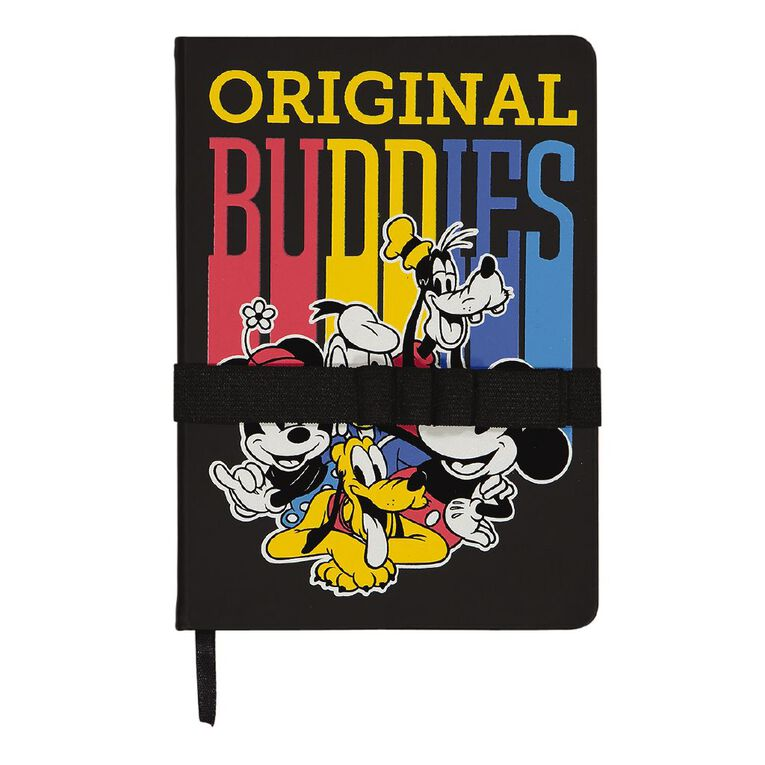 Mickey Mouse PU Notebook Wide Elastic With Loops Black A5, , hi-res