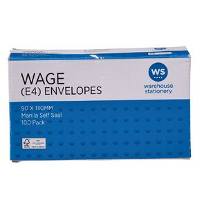 WS Envelope E4 Wage Self Seal 100 Pack