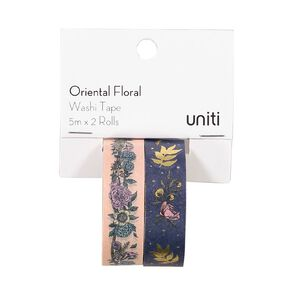 Uniti Oriental Floral Washi Tape Pink & Blue With Gold Foil 5m x 2 Rolls