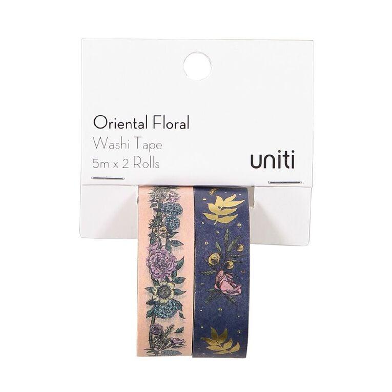 Uniti Oriental Floral Washi Tape Pink & Blue With Gold Foil 5m x 2 Rolls, , hi-res