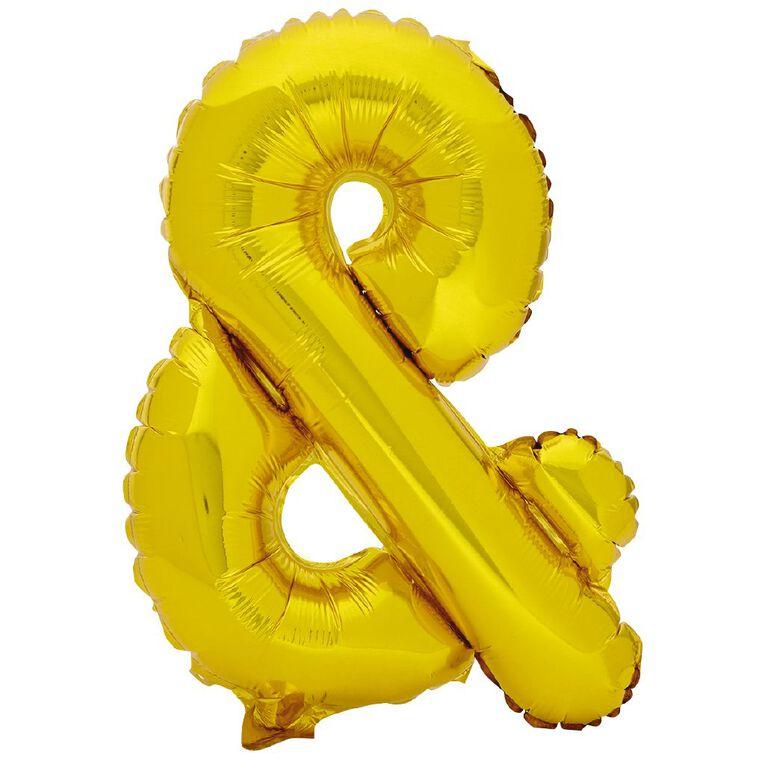 Artwrap Foil Balloon Ampersand Gold 35cm, , hi-res