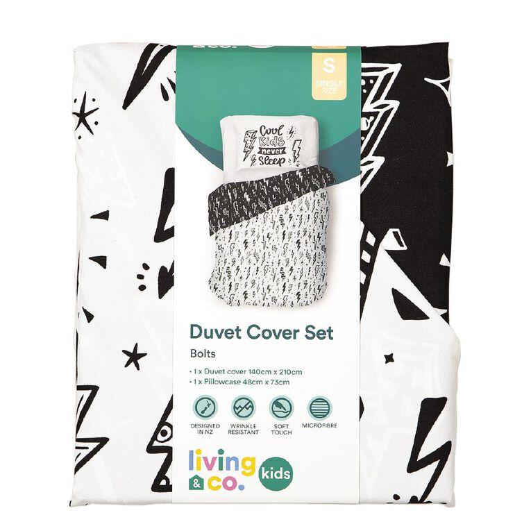 Living & Co Kids Duvet Cover Set Street Bolts Black/White King Single, Black/White, hi-res