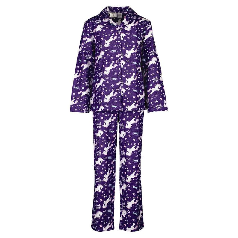 H&H Kids' Flannelette Pyjamas, Purple, hi-res