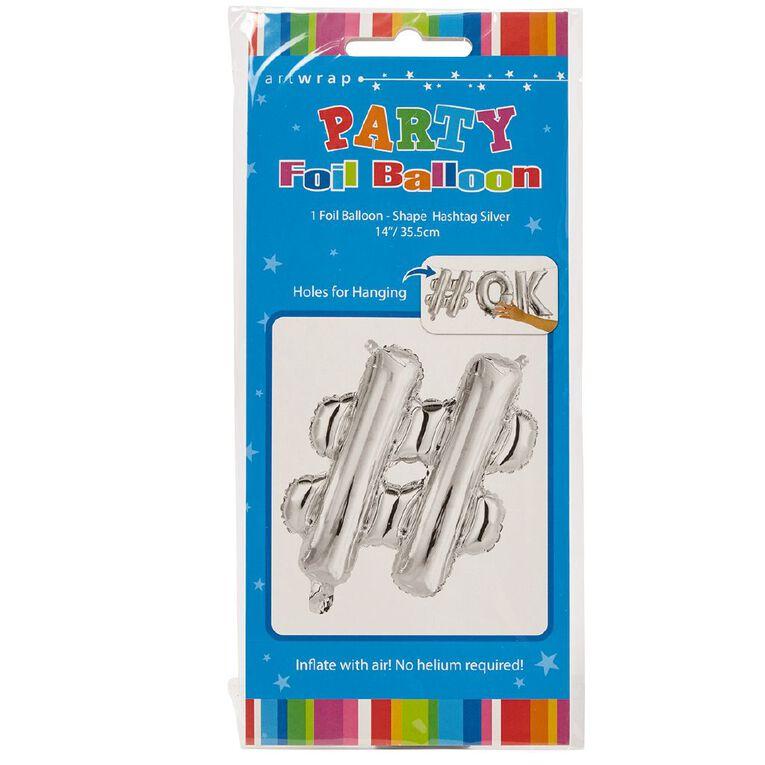 Artwrap Foil Balloon Hash Tag Silver 35cm, , hi-res