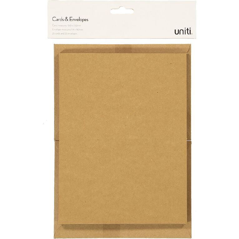 Uniti Cards & Envelopes Kraft 25 Pack, , hi-res