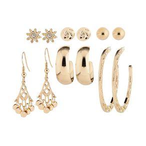 Basics Brand Knot Ball Hoop Gold Earrings 6 Pairs
