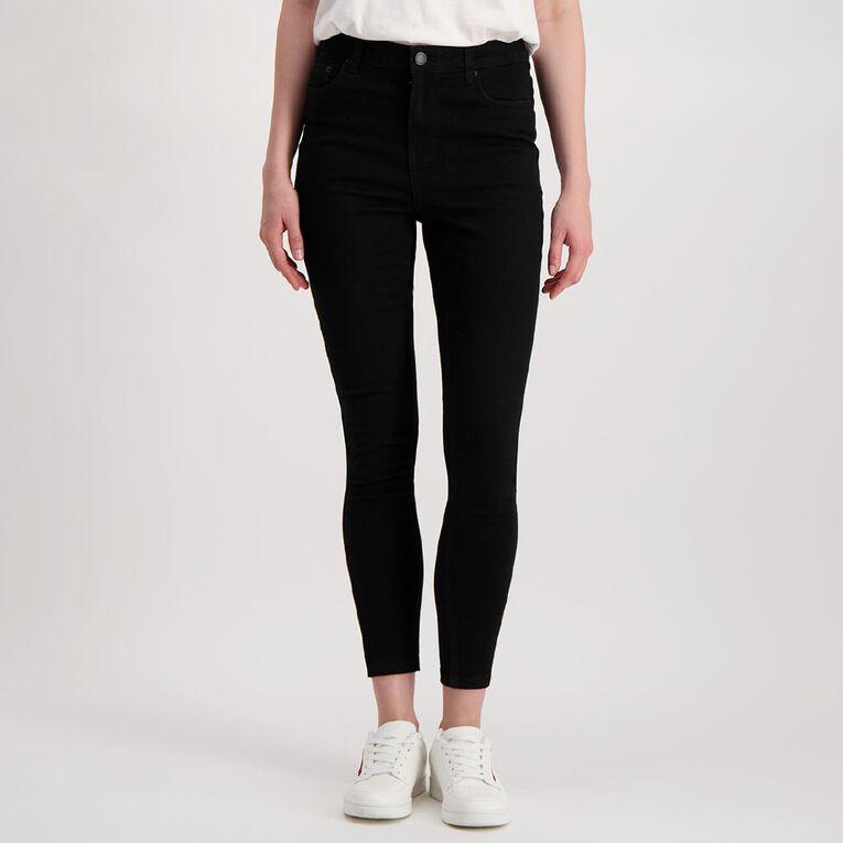 H&H Women's Mid Rise Skinny Jeans, Black, hi-res