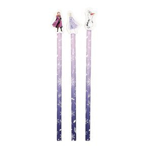 Frozen Disney Pencils With Toppers 3 Pack Purple