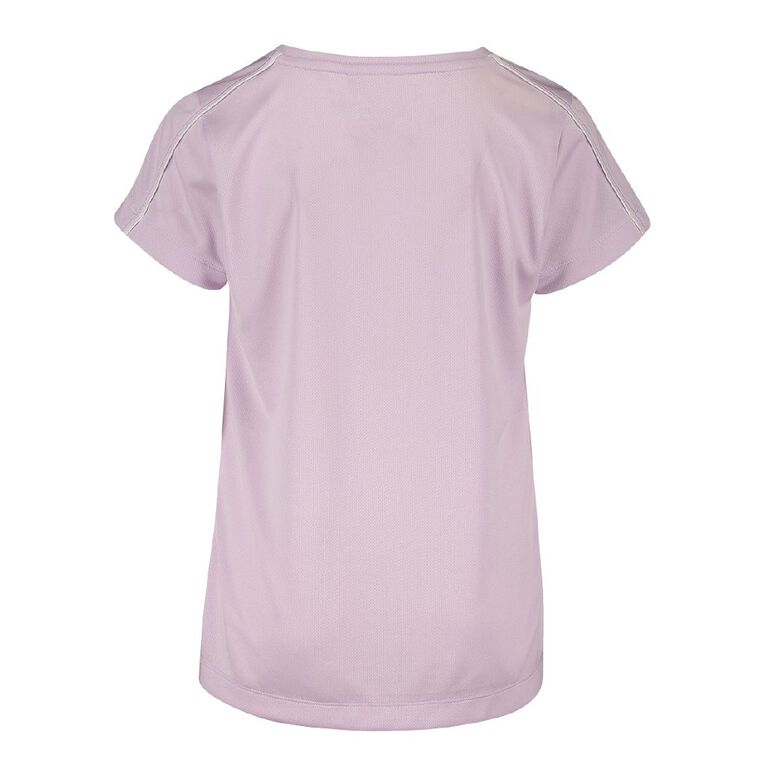 Active Intent Girls' Piping Detail Tee, Purple Light, hi-res