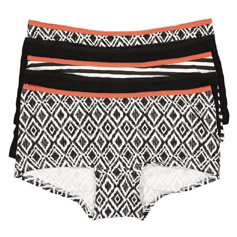 H&H Women's Shortie Briefs 5 Pack, Black/White, hi-res image number null