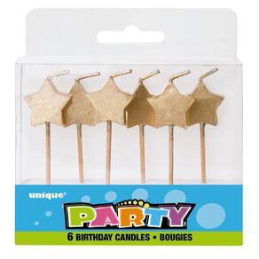 Unique Star Pick Candles Gold 6 Pack