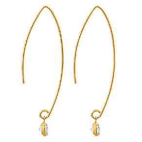 9ct Gold CZ Hook Drop Earrings