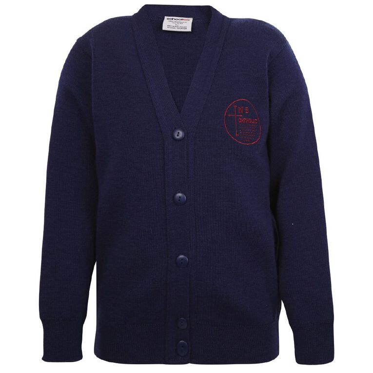 Schooltex New Brighton Catholic School Cardigan with Embroidery, Dark Royal, hi-res