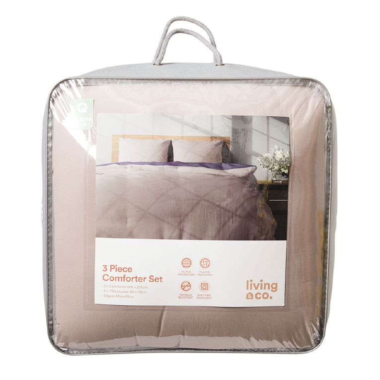 Living & Co Comforter Set Bark Navy Single, Navy, hi-res