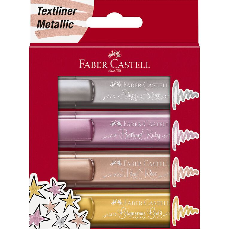 Faber-Castell Textliner 46 Highlighter - Wallet Metallic Colours, , hi-res