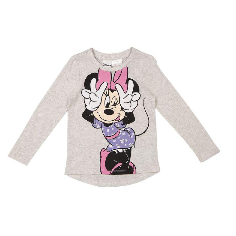 Minnie Mouse Long Sleeve Print Tee, Grey Light, hi-res