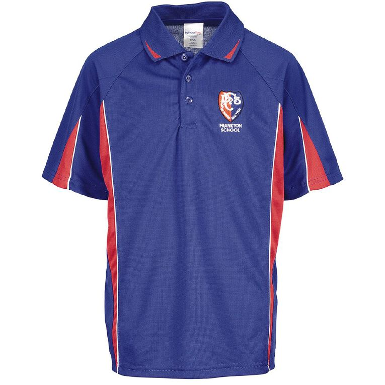 Schooltex Frankton Short Sleeve Polo with Embroidery, Royal/Red, hi-res