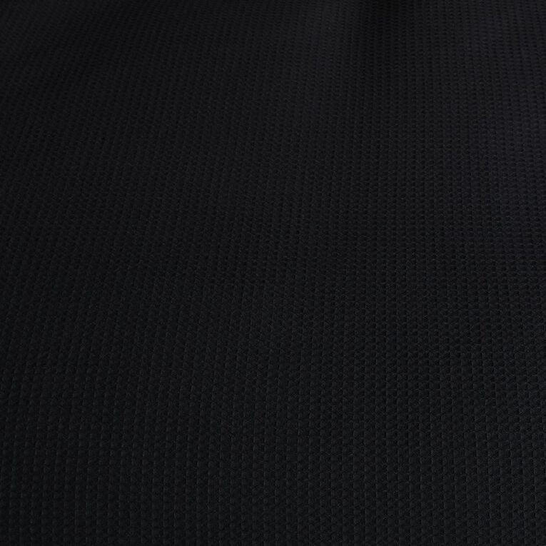 Living & Co Duvet Cover Set Luxury Waffle Black Super King, Black, hi-res