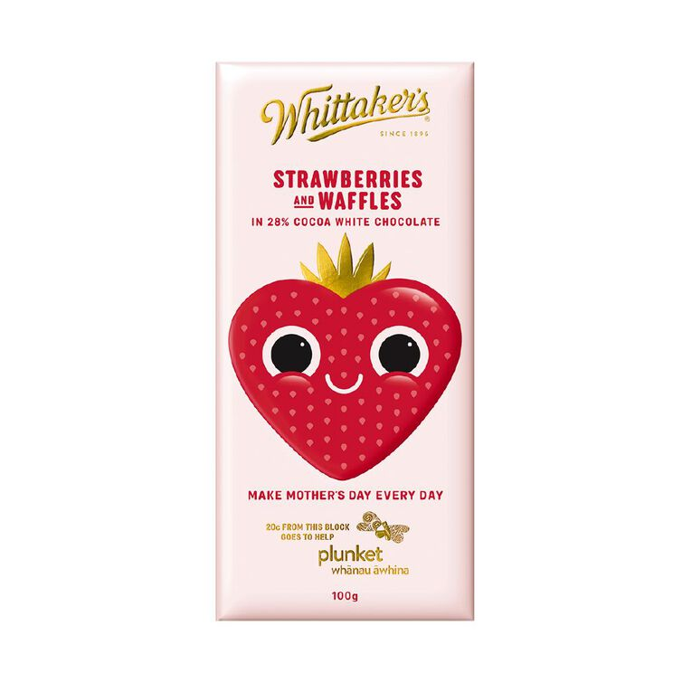 Whittaker's White Chocolate Strawberry and Waffles Block 100g, , hi-res