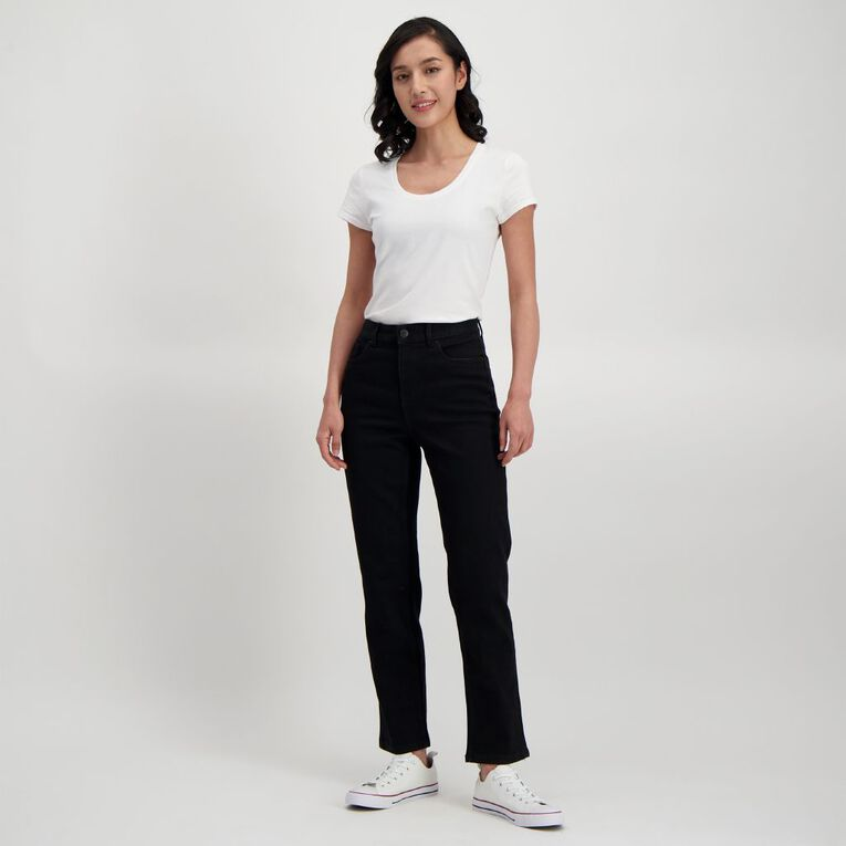 H&H Women's Classic Straight Jeans, Black, hi-res