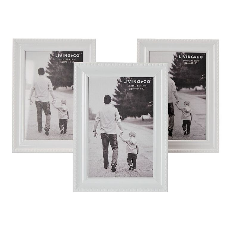 Living & Co Picture Frame With Easl & S Hanger 3pk White 4in x 6in, White, hi-res