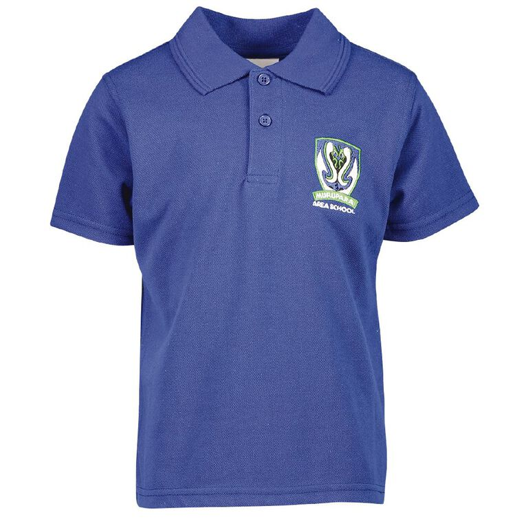 Schooltex Murupara Area Short Sleeve Polo with Embroidery, Royal, hi-res