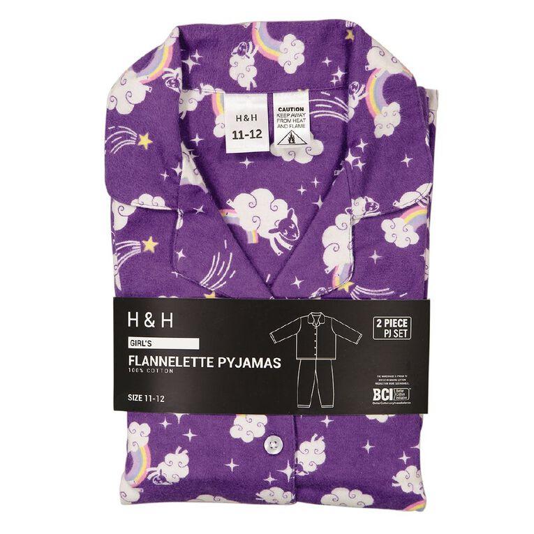 H&H Kids' Flannelette Pyjamas, Purple Dark, hi-res image number null