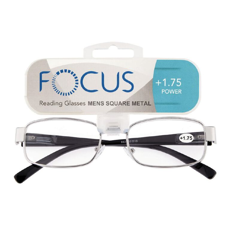 Focus Reading Glasses Men's Square Metal Power 1.75, , hi-res