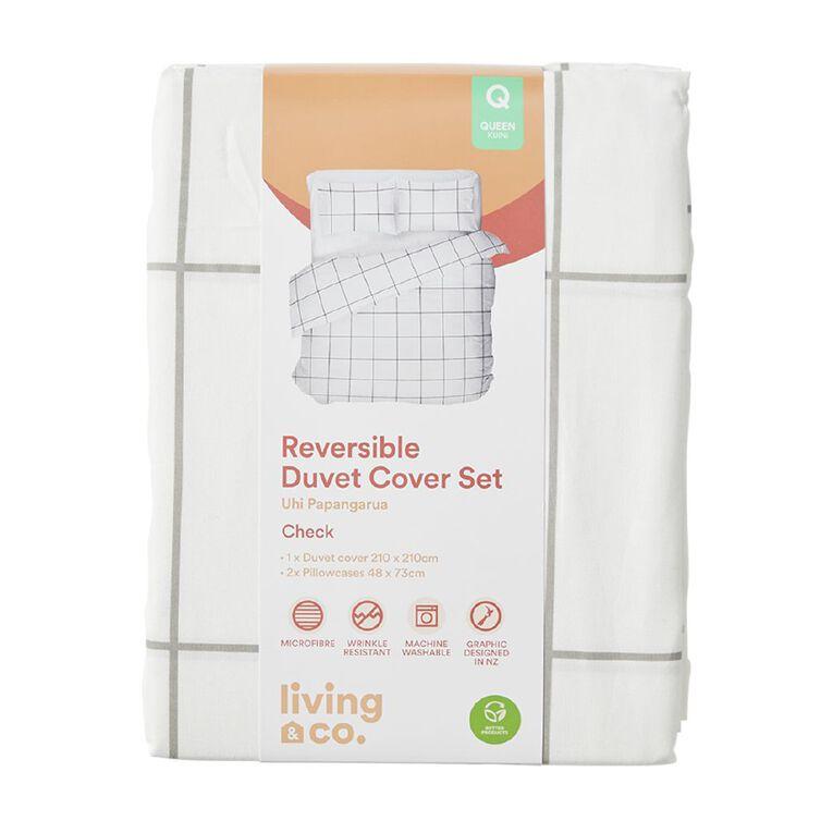Living & Co Duvet Cover Set Check White/Black Double, White/Black, hi-res